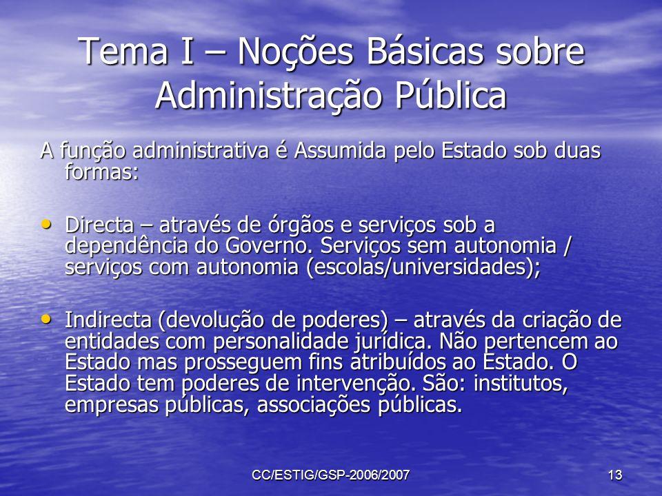 CC/ESTIG/GSP-2006/200713 Tema I – Noções Básicas sobre Administração Pública A função administrativa é Assumida pelo Estado sob duas formas: Directa –