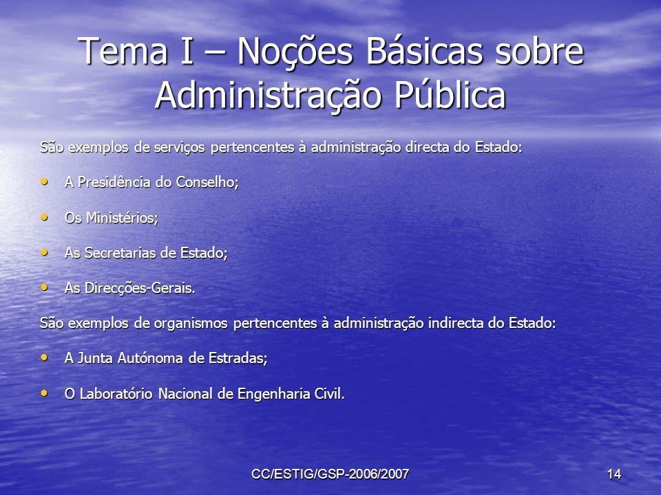 CC/ESTIG/GSP-2006/200714 Tema I – Noções Básicas sobre Administração Pública São exemplos de serviços pertencentes à administração directa do Estado: