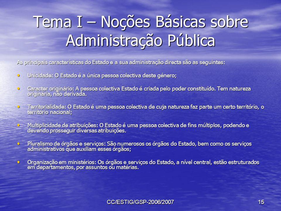 CC/ESTIG/GSP-2006/200715 Tema I – Noções Básicas sobre Administração Pública As principais características do Estado e a sua administração directa são
