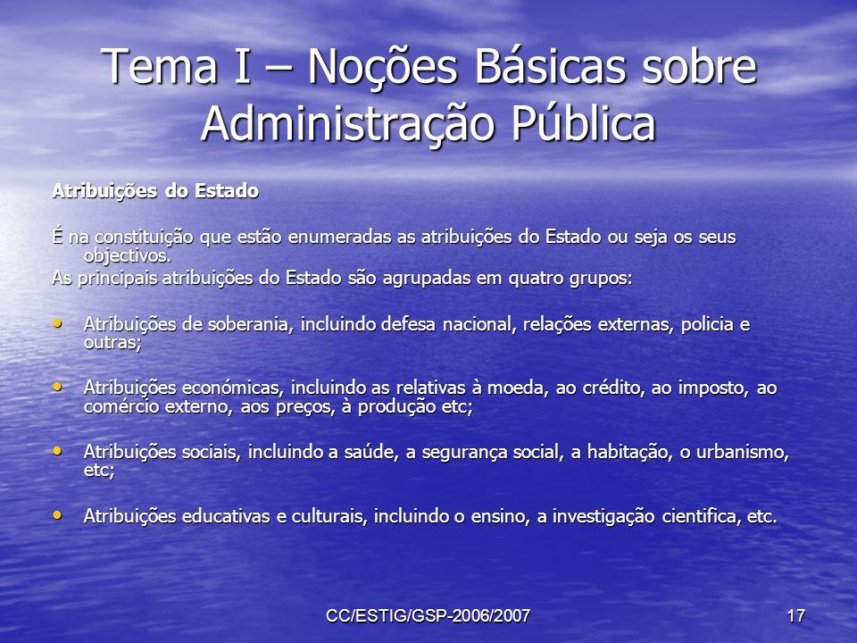 CC/ESTIG/GSP-2006/200717 Tema I – Noções Básicas sobre Administração Pública Atribuições do Estado É na constituição que estão enumeradas as atribuiçõ