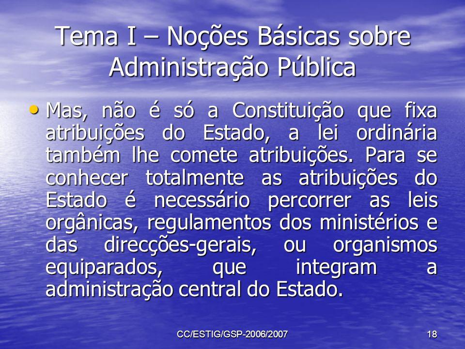 CC/ESTIG/GSP-2006/200718 Tema I – Noções Básicas sobre Administração Pública Mas, não é só a Constituição que fixa atribuições do Estado, a lei ordiná