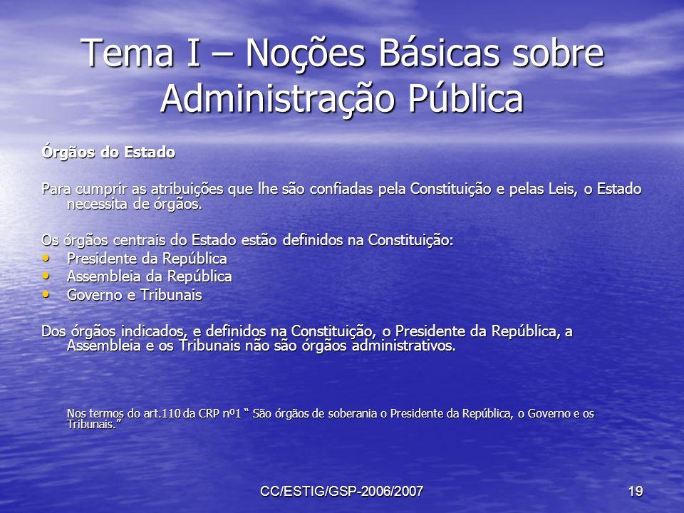 CC/ESTIG/GSP-2006/200719 Tema I – Noções Básicas sobre Administração Pública Órgãos do Estado Para cumprir as atribuições que lhe são confiadas pela C