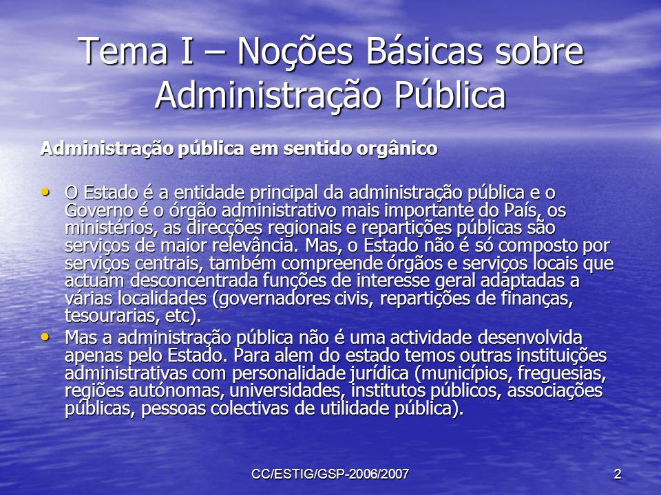 CC/ESTIG/GSP-2006/20072 Tema I – Noções Básicas sobre Administração Pública Administração pública em sentido orgânico O Estado é a entidade principal
