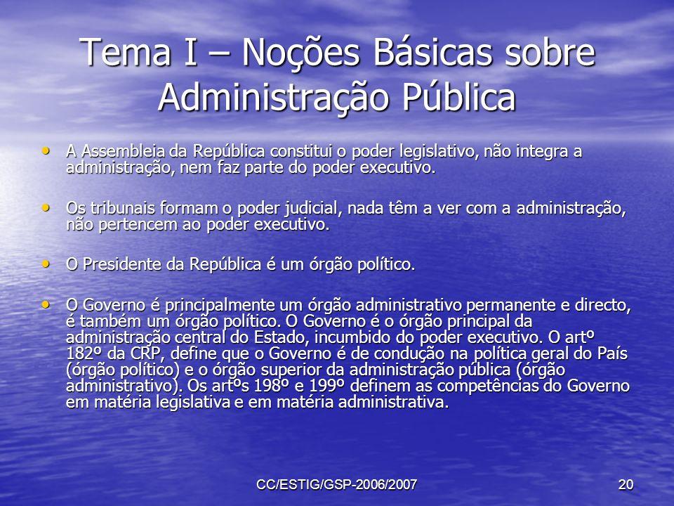 CC/ESTIG/GSP-2006/200720 Tema I – Noções Básicas sobre Administração Pública A Assembleia da República constitui o poder legislativo, não integra a ad