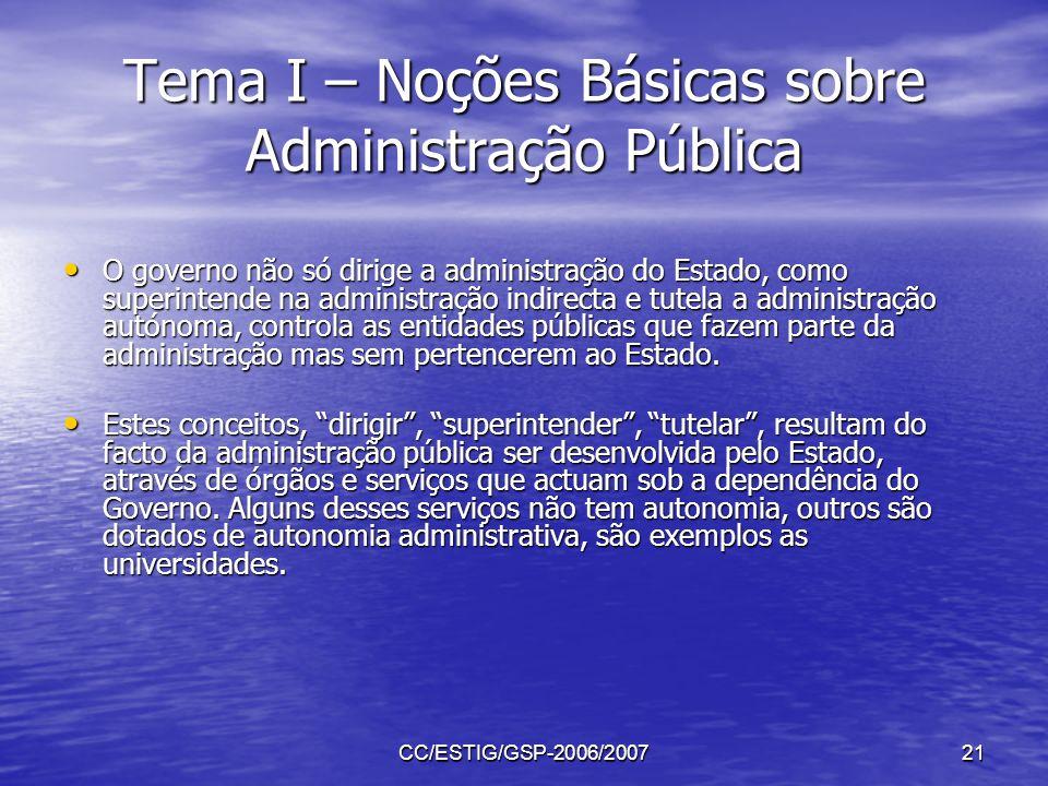 CC/ESTIG/GSP-2006/200721 Tema I – Noções Básicas sobre Administração Pública O governo não só dirige a administração do Estado, como superintende na a