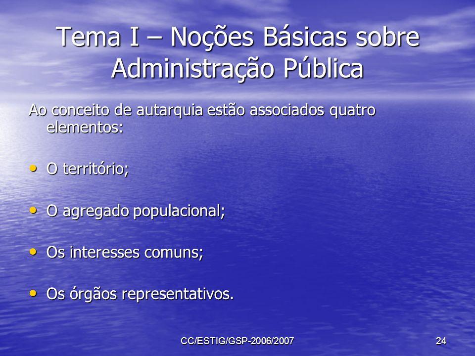CC/ESTIG/GSP-2006/200724 Tema I – Noções Básicas sobre Administração Pública Ao conceito de autarquia estão associados quatro elementos: O território;