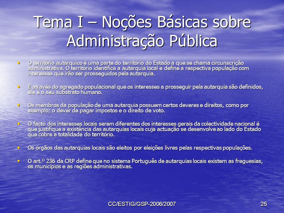 CC/ESTIG/GSP-2006/200725 Tema I – Noções Básicas sobre Administração Pública O território autárquico é uma parte do território do Estado a que se cham