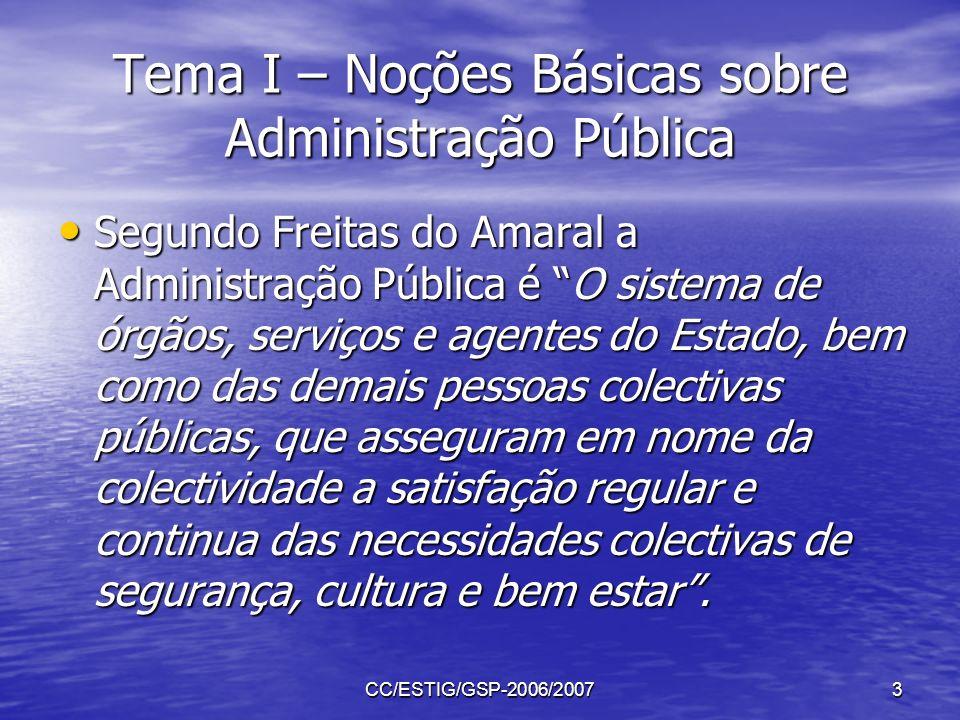 CC/ESTIG/GSP-2006/20073 Tema I – Noções Básicas sobre Administração Pública Segundo Freitas do Amaral a Administração Pública é O sistema de órgãos, s