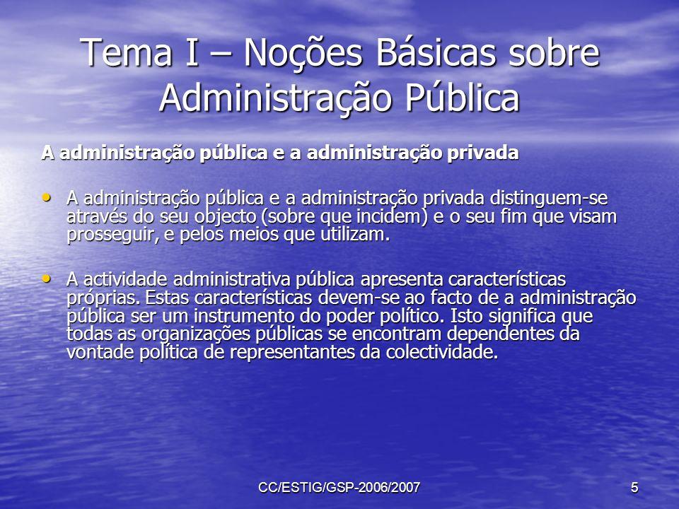 CC/ESTIG/GSP-2006/20075 Tema I – Noções Básicas sobre Administração Pública A administração pública e a administração privada A administração pública