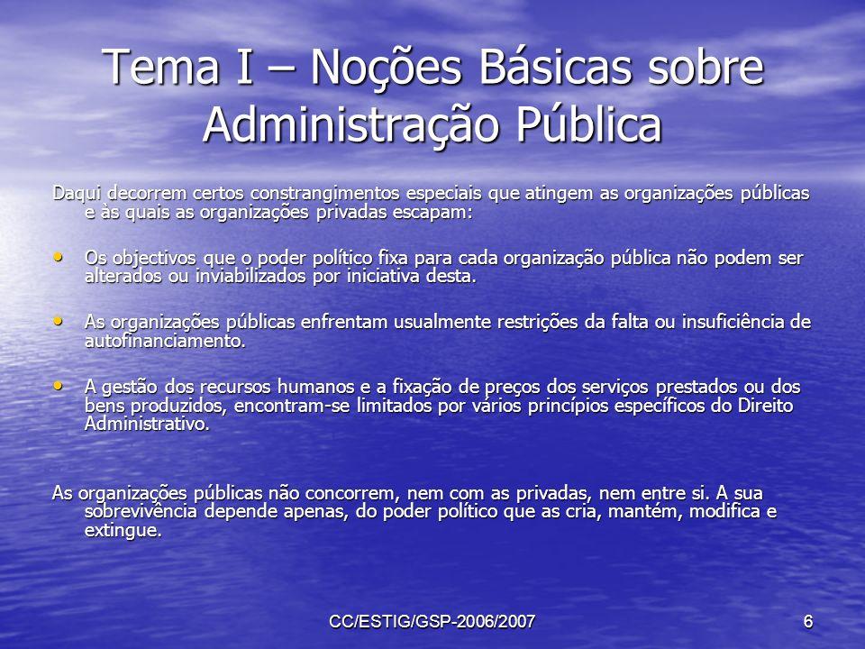 CC/ESTIG/GSP-2006/20076 Tema I – Noções Básicas sobre Administração Pública Daqui decorrem certos constrangimentos especiais que atingem as organizaçõ