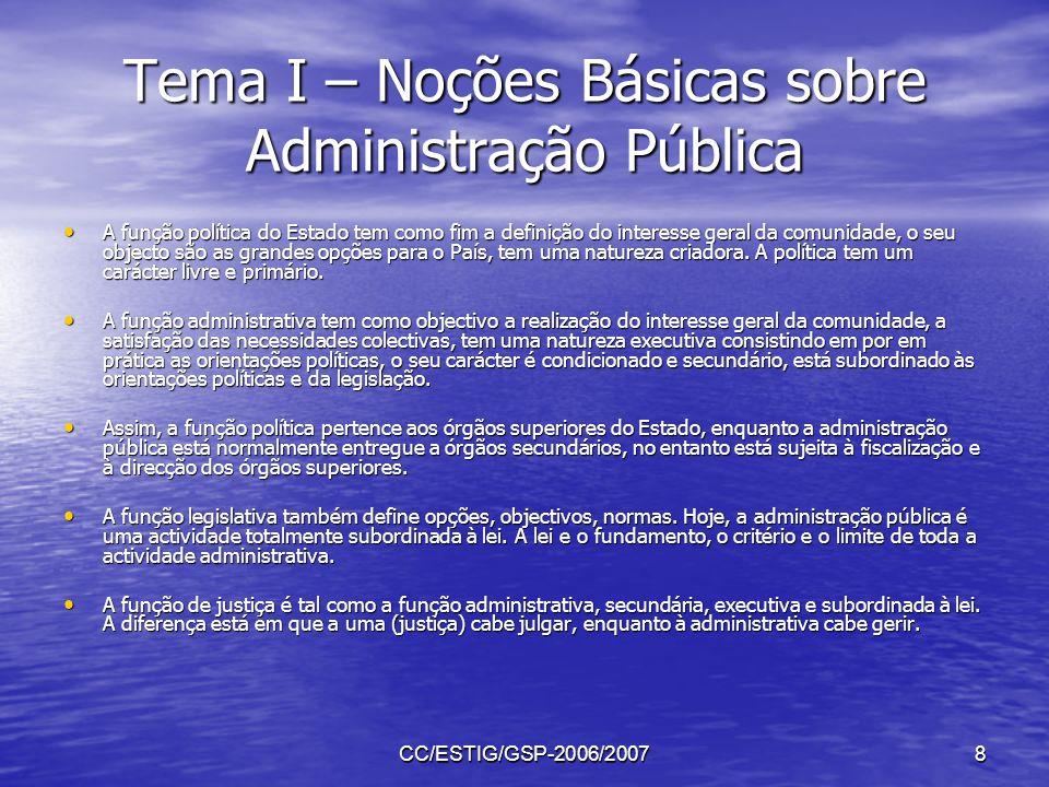 CC/ESTIG/GSP-2006/20078 Tema I – Noções Básicas sobre Administração Pública A função política do Estado tem como fim a definição do interesse geral da