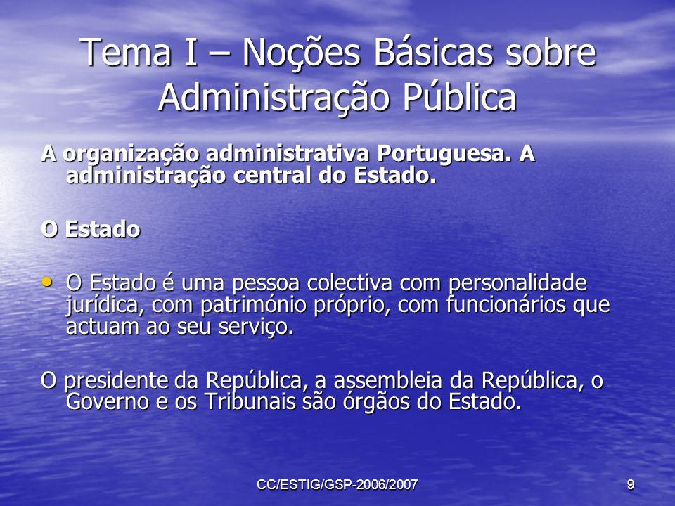 CC/ESTIG/GSP-2006/20079 Tema I – Noções Básicas sobre Administração Pública A organização administrativa Portuguesa. A administração central do Estado