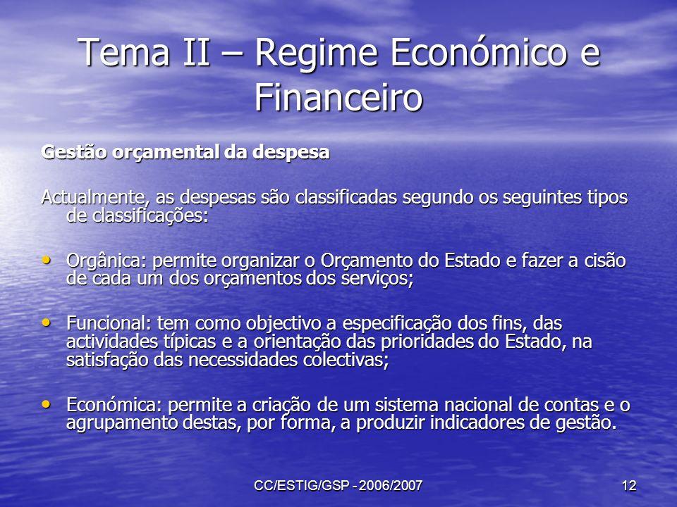 CC/ESTIG/GSP - 2006/200712 Tema II – Regime Económico e Financeiro Gestão orçamental da despesa Actualmente, as despesas são classificadas segundo os