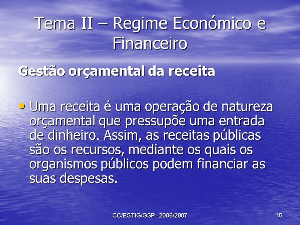 CC/ESTIG/GSP - 2006/200715 Tema II – Regime Económico e Financeiro Gestão orçamental da receita Uma receita é uma operação de natureza orçamental que