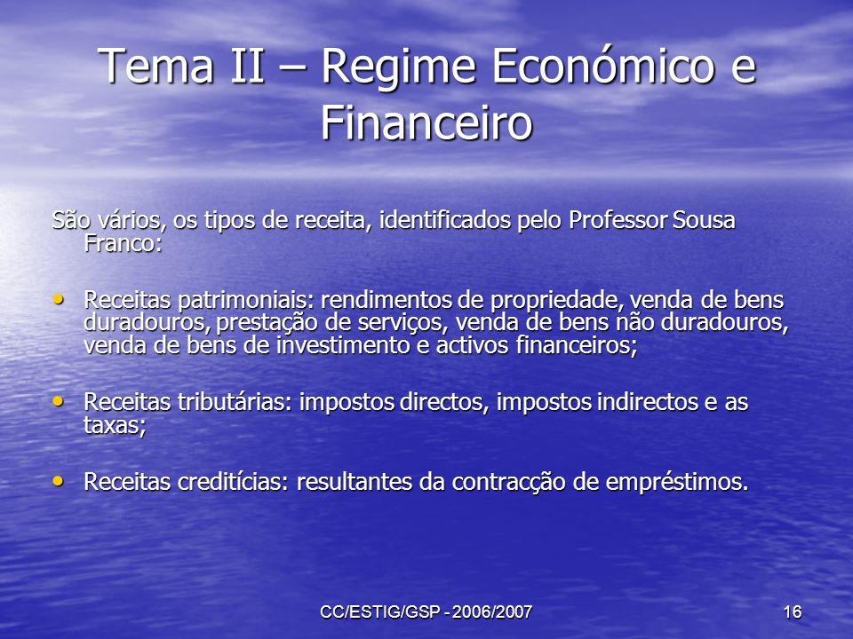 CC/ESTIG/GSP - 2006/200716 Tema II – Regime Económico e Financeiro São vários, os tipos de receita, identificados pelo Professor Sousa Franco: Receita