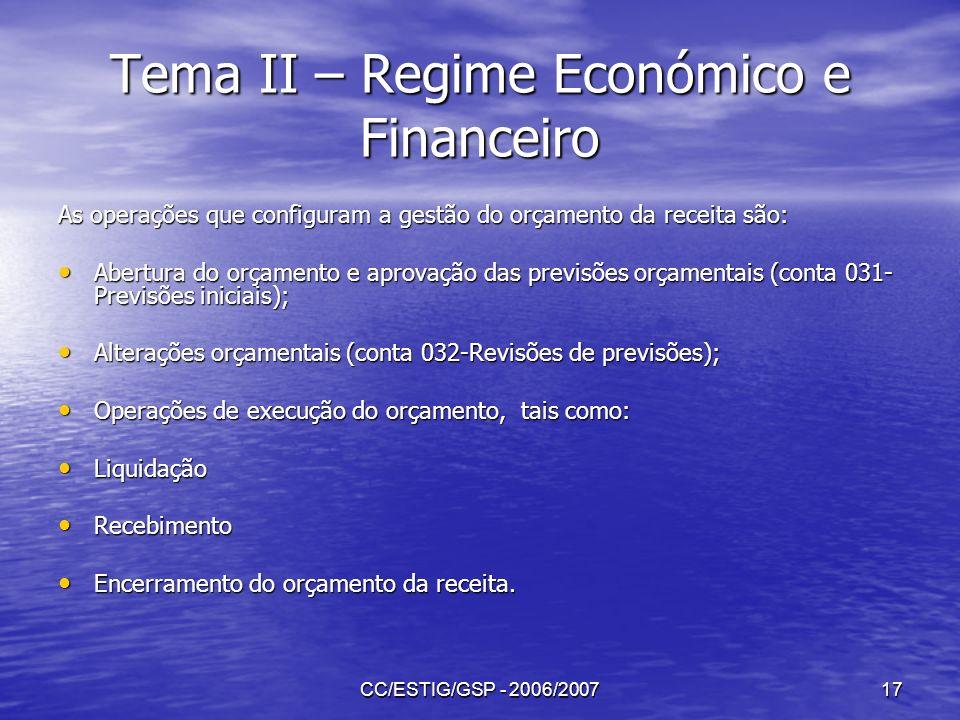 CC/ESTIG/GSP - 2006/200717 Tema II – Regime Económico e Financeiro As operações que configuram a gestão do orçamento da receita são: Abertura do orçam