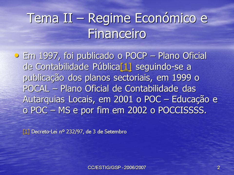 CC/ESTIG/GSP - 2006/20072 Tema II – Regime Económico e Financeiro Em 1997, foi publicado o POCP – Plano Oficial de Contabilidade Pública[1] seguindo-s