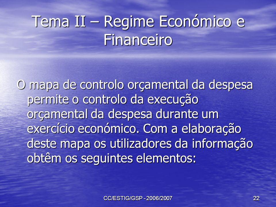 CC/ESTIG/GSP - 2006/200722 Tema II – Regime Económico e Financeiro O mapa de controlo orçamental da despesa permite o controlo da execução orçamental