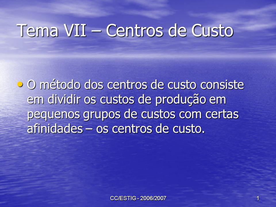 CC/ESTIG - 2006/20071 Tema VII – Centros de Custo O método dos centros de custo consiste em dividir os custos de produção em pequenos grupos de custos