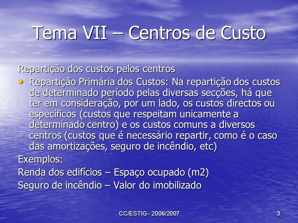CC/ESTIG - 2006/20073 Tema VII – Centros de Custo Repartição dos custos pelos centros Repartição Primária dos Custos: Na repartição dos custos de dete