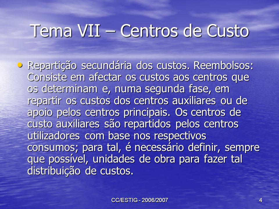 CC/ESTIG - 2006/20074 Tema VII – Centros de Custo Repartição secundária dos custos. Reembolsos: Consiste em afectar os custos aos centros que os deter