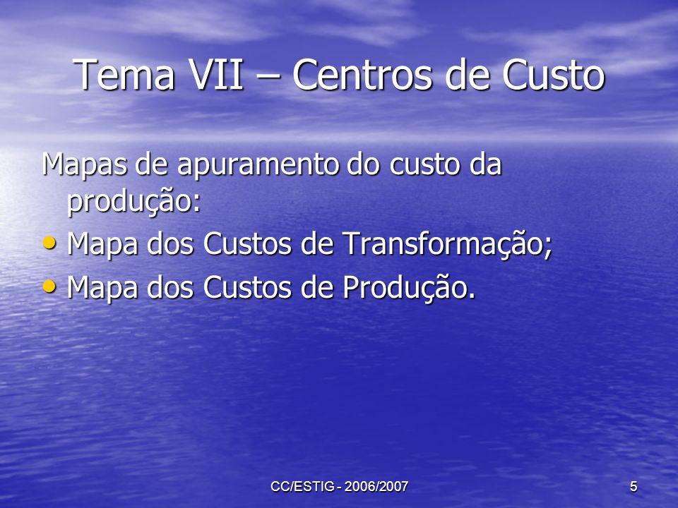 CC/ESTIG - 2006/20075 Tema VII – Centros de Custo Mapas de apuramento do custo da produção: Mapa dos Custos de Transformação; Mapa dos Custos de Trans