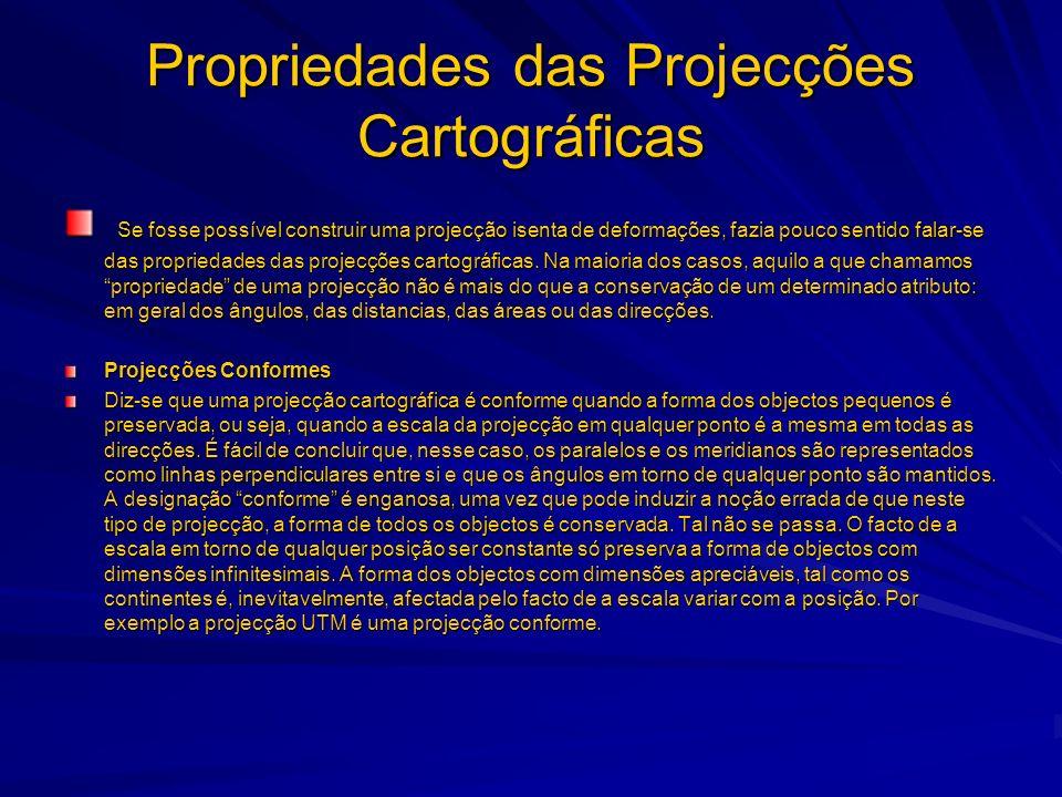 Propriedades das Projecções Cartográficas Projecções Equivalentes A equivalência é uma outra propriedade das projecções cartográficas, de especial relevância quando se pretende preservar as proporções entre áreas.