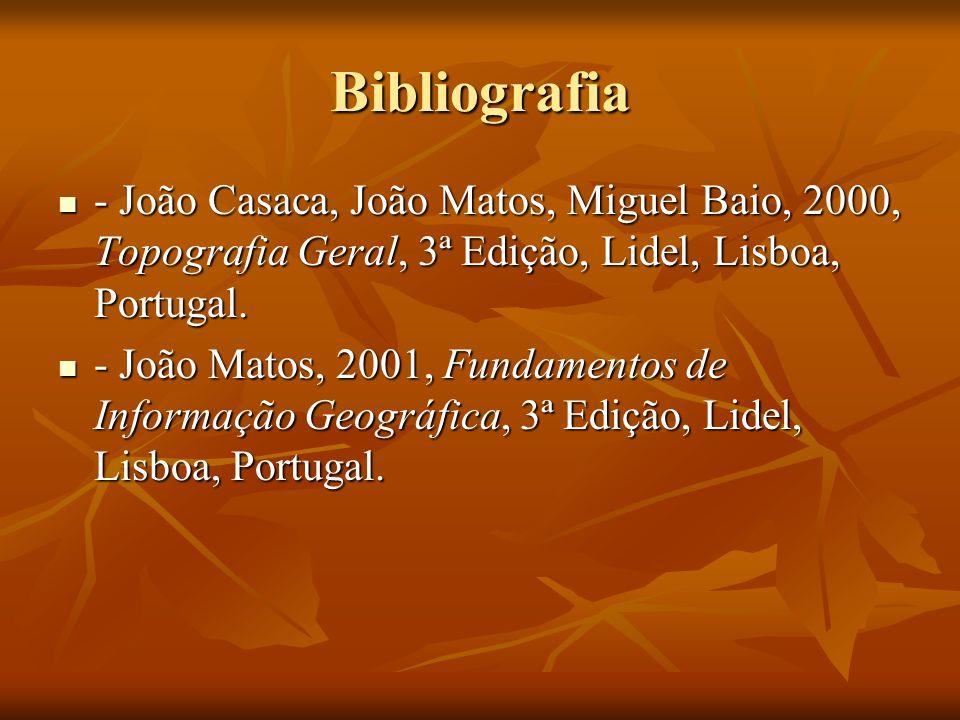 Bibliografia - João Casaca, João Matos, Miguel Baio, 2000, Topografia Geral, 3ª Edição, Lidel, Lisboa, Portugal. - João Casaca, João Matos, Miguel Bai