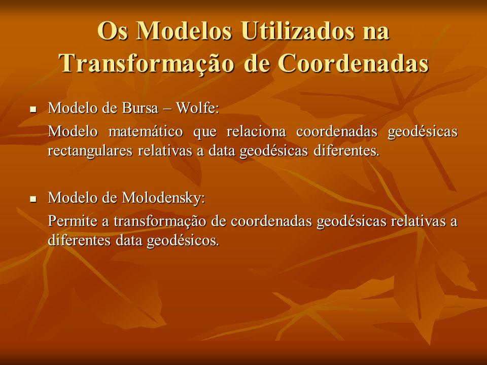 Os Modelos Utilizados na Transformação de Coordenadas Modelo de Bursa – Wolfe: Modelo de Bursa – Wolfe: Modelo matemático que relaciona coordenadas ge