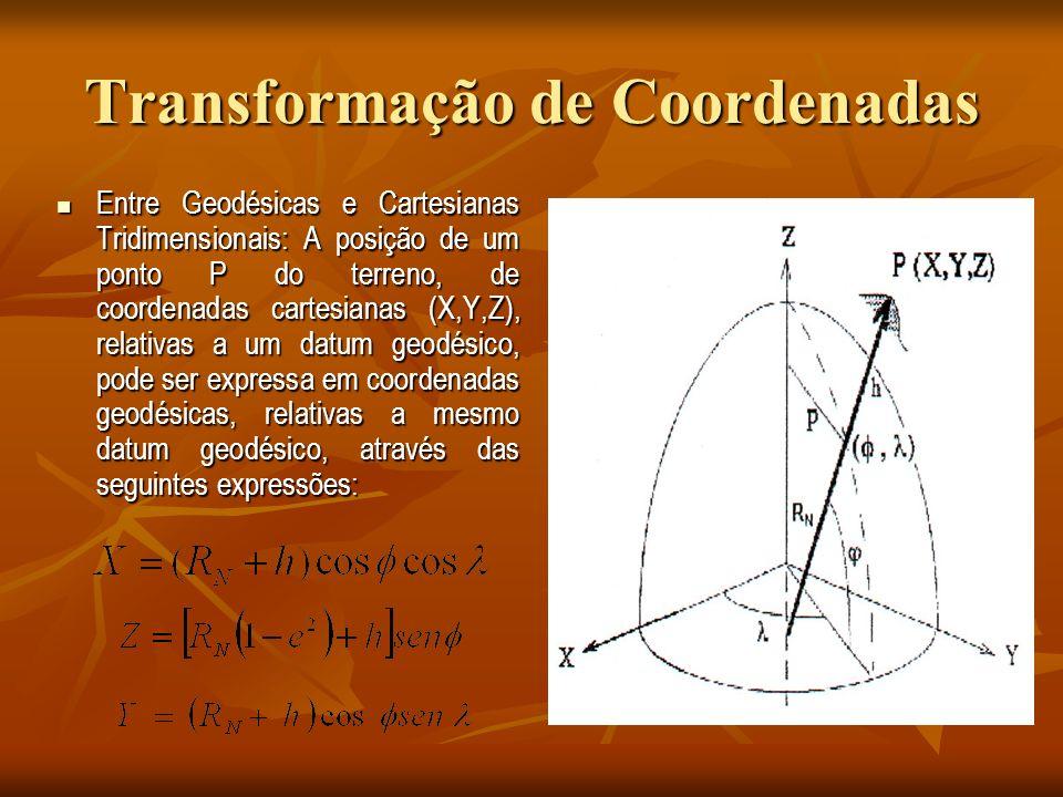 Transformação de Coordenadas Entre Geodésicas e Cartesianas Tridimensionais: A posição de um ponto P do terreno, de coordenadas cartesianas (X,Y,Z), relativas a um datum geodésico, pode ser expressa em coordenadas geodésicas, relativas a mesmo datum geodésico, através das seguintes expressões: Entre Geodésicas e Cartesianas Tridimensionais: A posição de um ponto P do terreno, de coordenadas cartesianas (X,Y,Z), relativas a um datum geodésico, pode ser expressa em coordenadas geodésicas, relativas a mesmo datum geodésico, através das seguintes expressões: