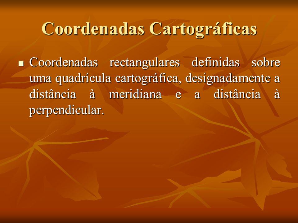 Coordenadas Cartográficas Coordenadas rectangulares definidas sobre uma quadrícula cartográfica, designadamente a distância à meridiana e a distância à perpendicular.