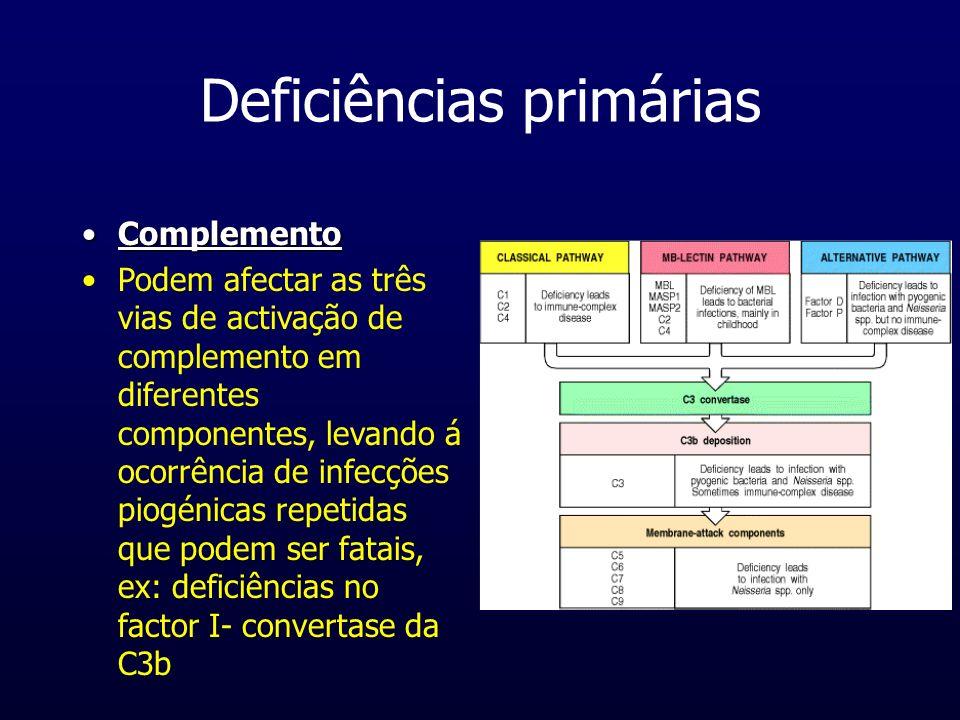 Deficiências primárias ComplementoComplemento Podem afectar as três vias de activação de complemento em diferentes componentes, levando á ocorrência d