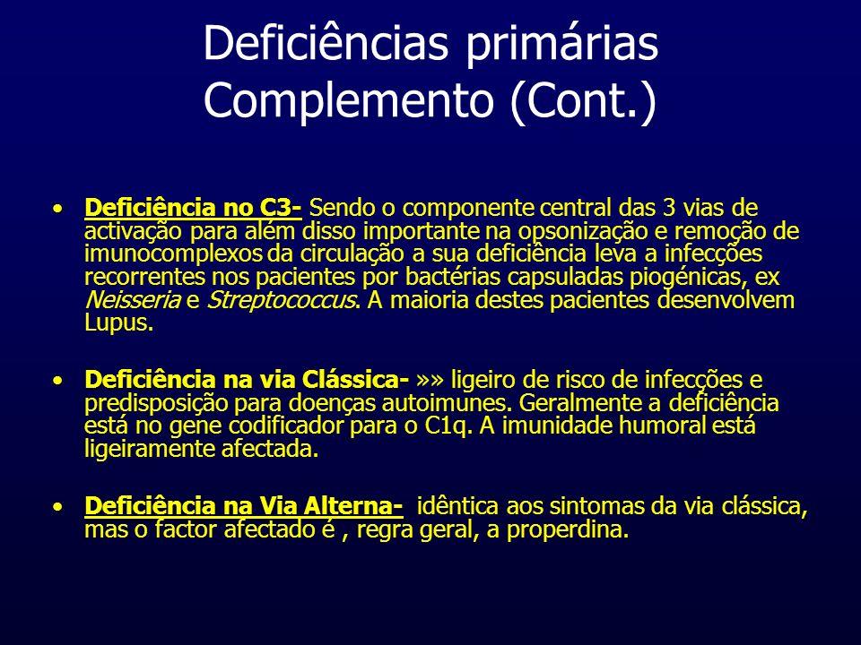Deficiências primárias Complemento (Cont.) Deficiência no C3-Deficiência no C3- Sendo o componente central das 3 vias de activação para além disso imp