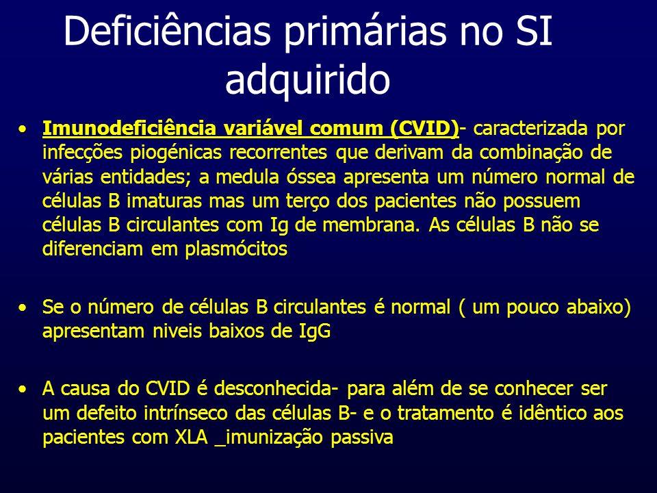 Deficiências primárias no SI adquirido Imunodeficiência variável comum (CVID)Imunodeficiência variável comum (CVID)- caracterizada por infecções piogé