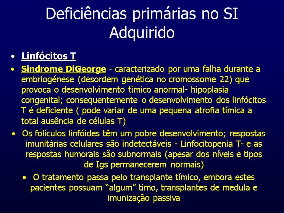 Linfócitos TLinfócitos T Sindrome DiGeorgeSindrome DiGeorge - caracterizado por uma falha durante a embriogénese (desordem genética no cromossome 22)