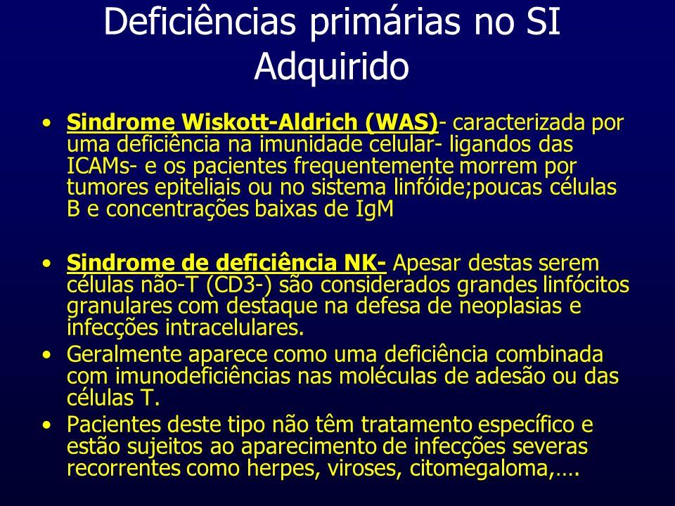 Deficiências primárias no SI Adquirido Sindrome Wiskott-Aldrich (WAS)Sindrome Wiskott-Aldrich (WAS)- caracterizada por uma deficiência na imunidade ce