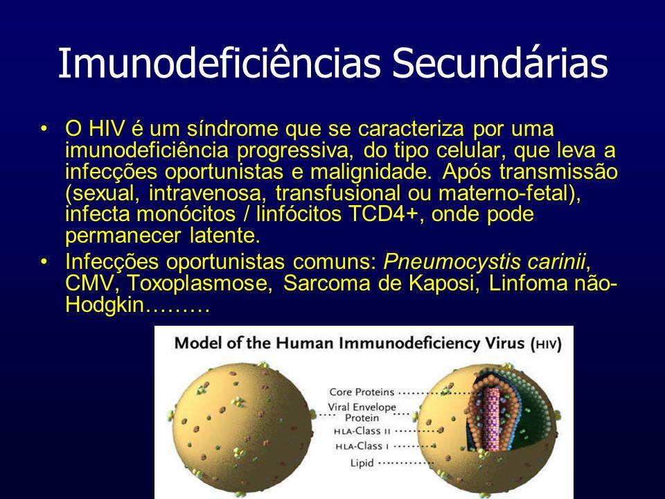 Imunodeficiências Secundárias O HIV é um síndrome que se caracteriza por uma imunodeficiência progressiva, do tipo celular, que leva a infecções oport