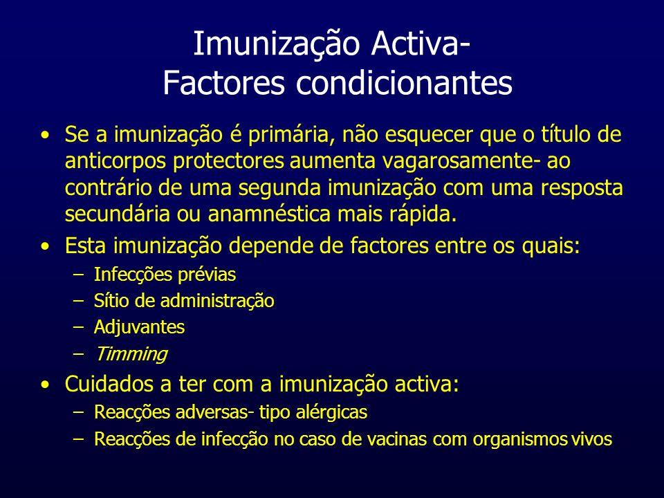 Imunização Activa- Factores condicionantes Se a imunização é primária, não esquecer que o título de anticorpos protectores aumenta vagarosamente- ao c