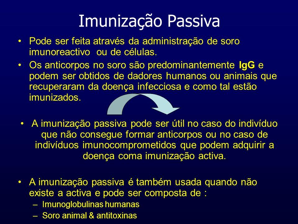 Imunização Passiva Pode ser feita através da administração de soro imunoreactivo ou de células. IgGOs anticorpos no soro são predominantemente IgG e p