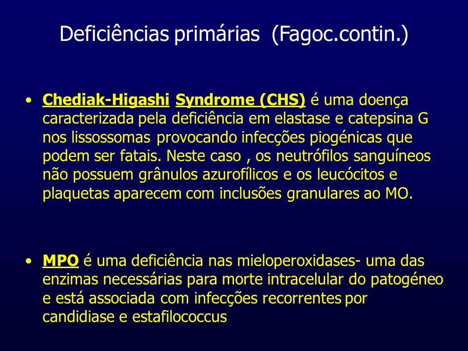 Deficiências primárias (Fagoc.contin.) LADUma deficiência fagocitária comum que afecta as integrinas- moléculas de adesão- é a LAD- leukocyte adhesion deficiency que causa deficiências ao nível da quimiotaxia-migração dos leucócitos e infecções bacterianas recorrentes.