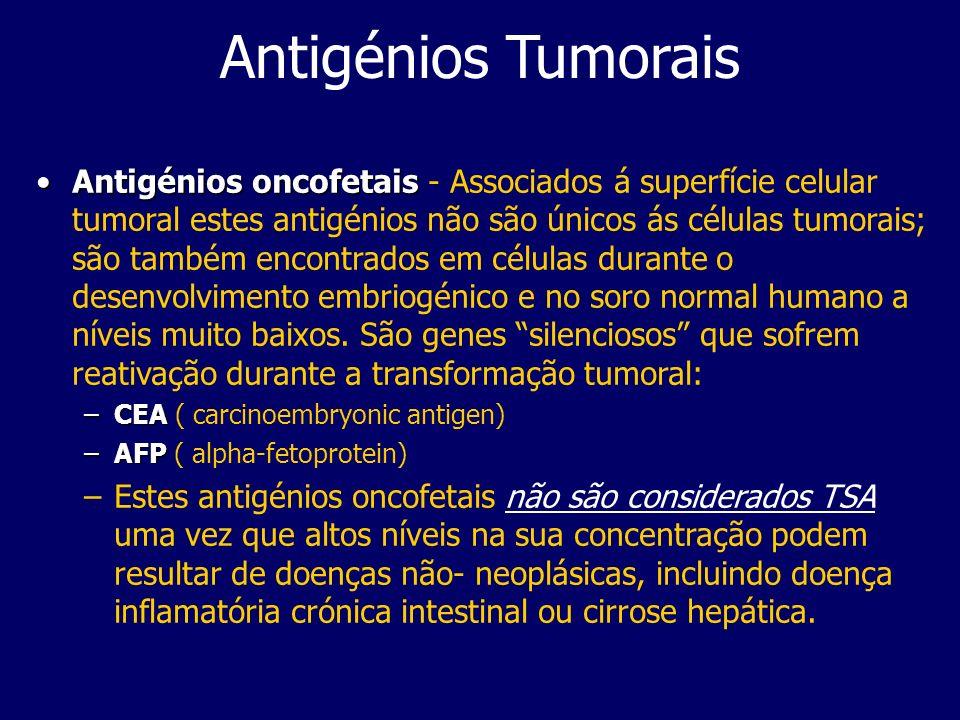 Antigénios Tumorais Antigénios oncofetaisAntigénios oncofetais - Associados á superfície celular tumoral estes antigénios não são únicos ás células tumorais; são também encontrados em células durante o desenvolvimento embriogénico e no soro normal humano a níveis muito baixos.