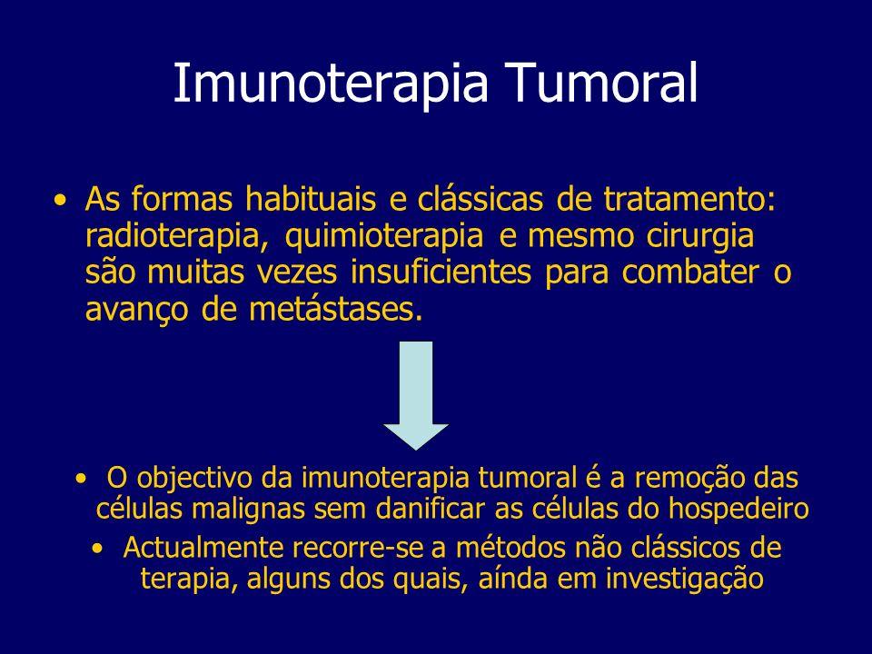 Imunoterapia Tumoral As formas habituais e clássicas de tratamento: radioterapia, quimioterapia e mesmo cirurgia são muitas vezes insuficientes para combater o avanço de metástases.
