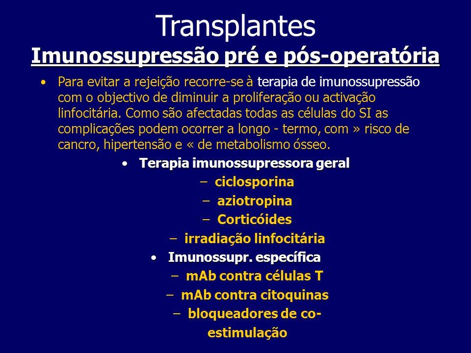 Imunossupressão pré e pós-operatória Transplantes Imunossupressão pré e pós-operatória Para evitar a rejeição recorre-se à terapia de imunossupressão com o objectivo de diminuir a proliferação ou activação linfocitária.
