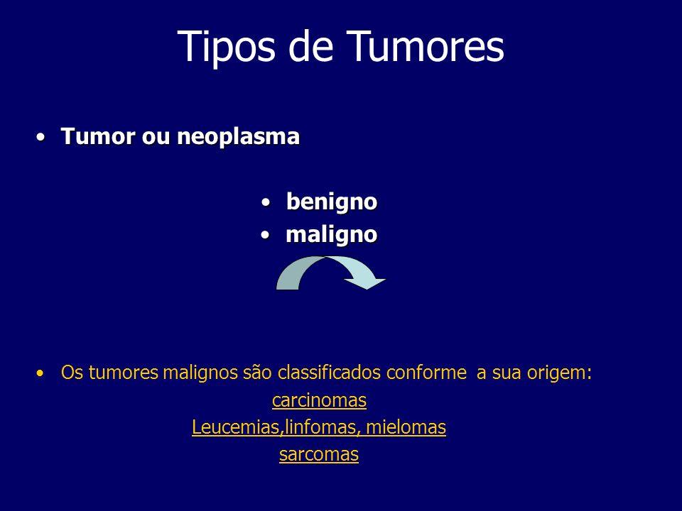Tipos de Tumores Tumor ou neoplasmaTumor ou neoplasma benignobenigno malignomaligno Os tumores malignos são classificados conforme a sua origem: carcinomas Leucemias,linfomas, mielomas sarcomas