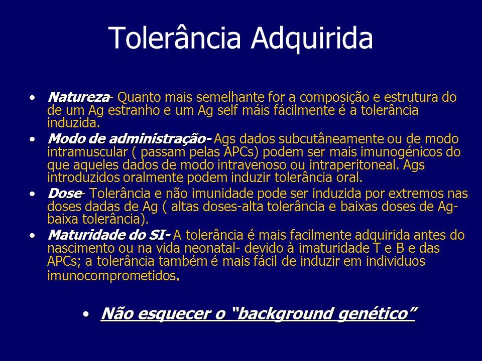 Tolerância Adquirida NaturezaNatureza- Quanto mais semelhante for a composição e estrutura do de um Ag estranho e um Ag self máis fácilmente é a tolerância induzida.