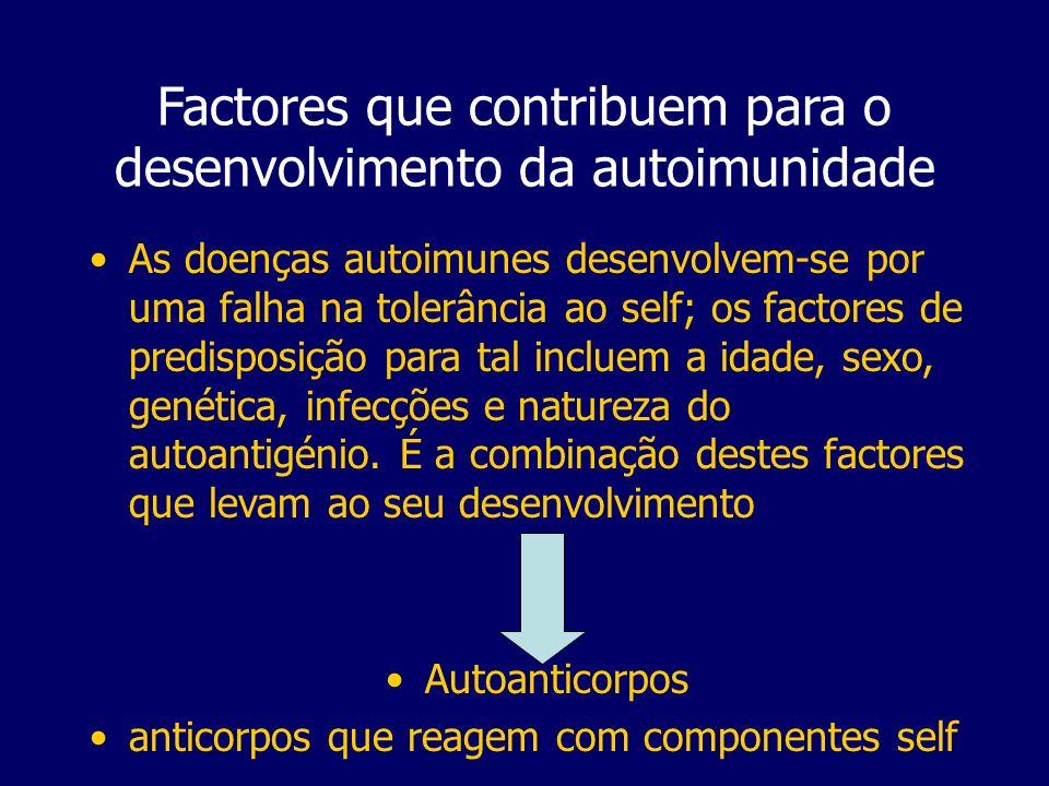 Factores que contribuem para o desenvolvimento da autoimunidade As doenças autoimunes desenvolvem-se por uma falha na tolerância ao self; os factores de predisposição para tal incluem a idade, sexo, genética, infecções e natureza do autoantigénio.