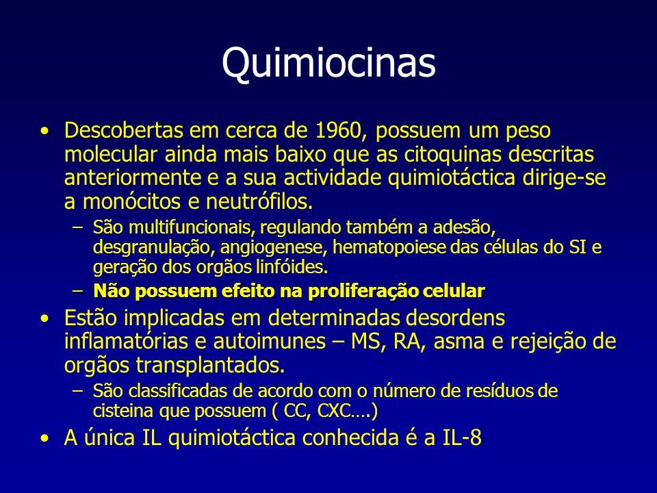 Quimiocinas Descobertas em cerca de 1960, possuem um peso molecular ainda mais baixo que as citoquinas descritas anteriormente e a sua actividade quim