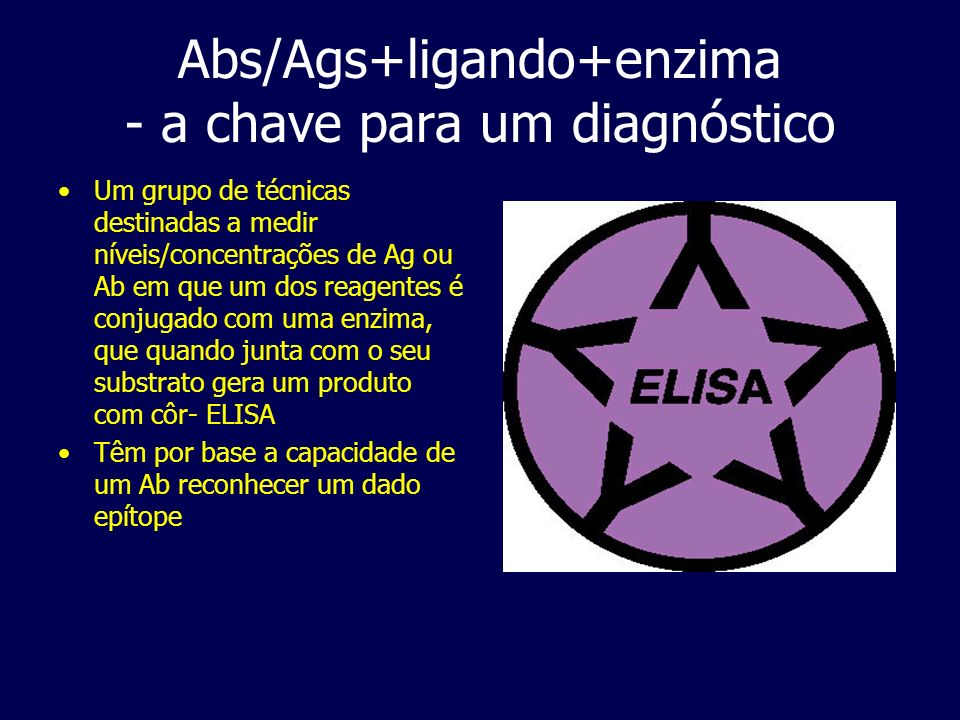 Abs/Ags+ligando+enzima - a chave para um diagnóstico Um grupo de técnicas destinadas a medir níveis/concentrações de Ag ou Ab em que um dos reagentes