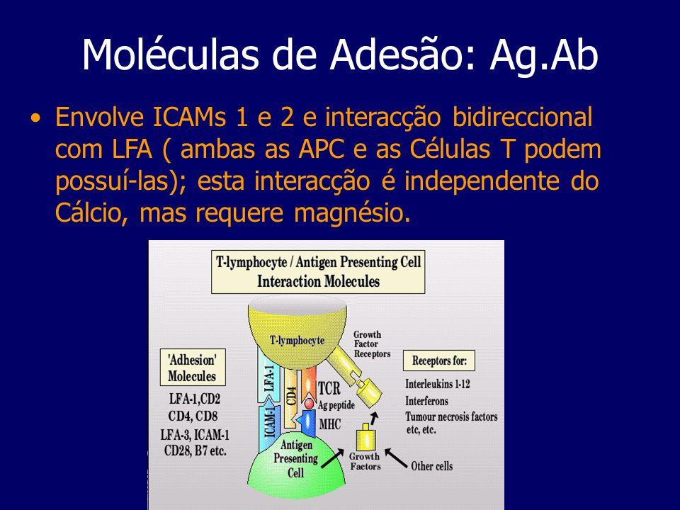 Moléculas de Adesão: Ag.Ab Envolve ICAMs 1 e 2 e interacção bidireccional com LFA ( ambas as APC e as Células T podem possuí-las); esta interacção é i