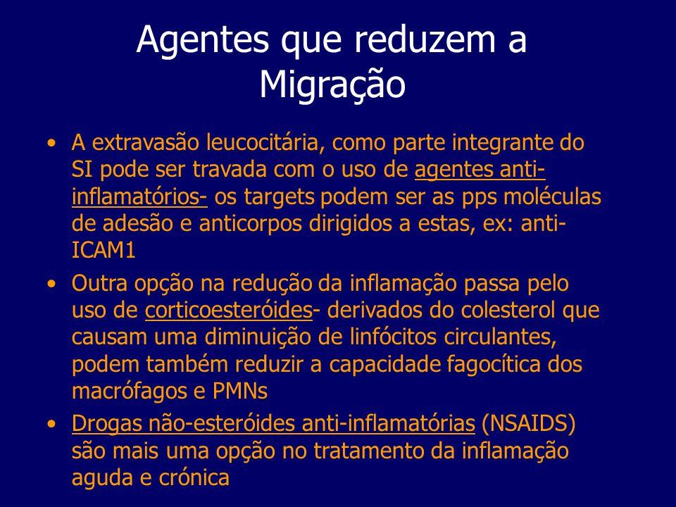 Agentes que reduzem a Migração A extravasão leucocitária, como parte integrante do SI pode ser travada com o uso de agentes anti- inflamatórios- os ta